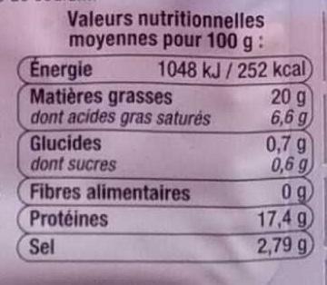 Allumettes Lardon Fumés - Informations nutritionnelles - fr