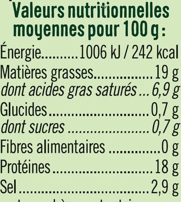 Lardons nature qualité supérieurs - Informations nutritionnelles - fr