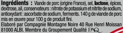 Saucisson sec label rouge - Ingrédients - fr