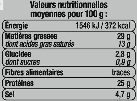 Saucisson sec label rouge - Informations nutritionnelles - fr