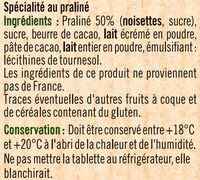 Tablette praliné à patisser - Ingrédients