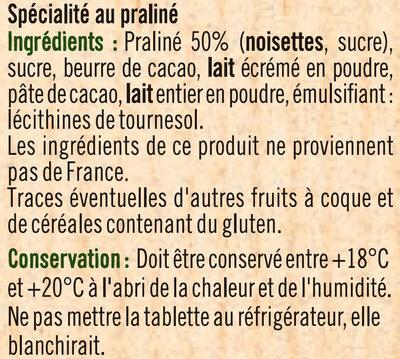 Tablette praliné à pâtisser - Ingrédients - fr