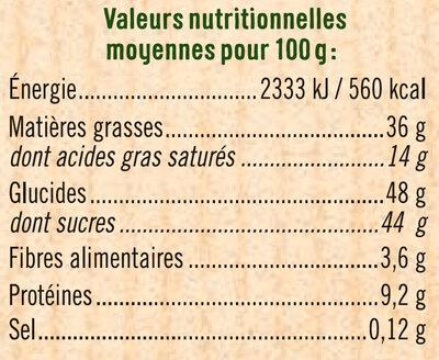 Tablette praliné à pâtisser - Informations nutritionnelles - fr