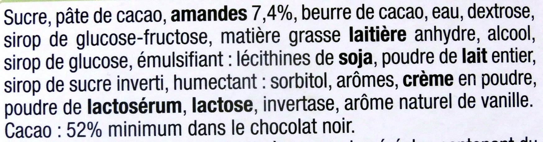 Chocolat noir, Pâte d'Amande - Ingrediënten