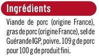 Rillettes du Mans pur porc - Ingrédients