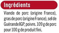 Rillettes du Mans pur porc - Ingredients - fr
