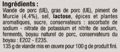 Chorizo doux supérieur pur porc - Ingredients