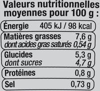 Carottes râpées - Informations nutritionnelles