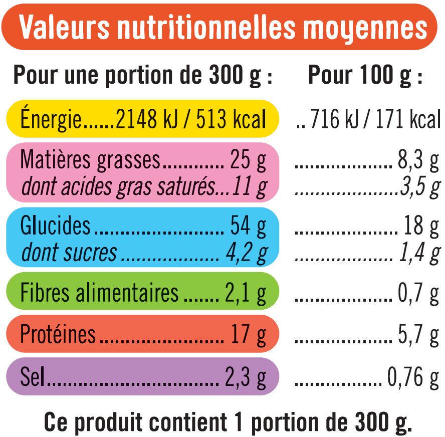 Tortis à la carbonnara aux lardons fumés - Voedingswaarden - fr