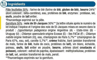Paniers feuilletés aux St Jacques - Ingrédients