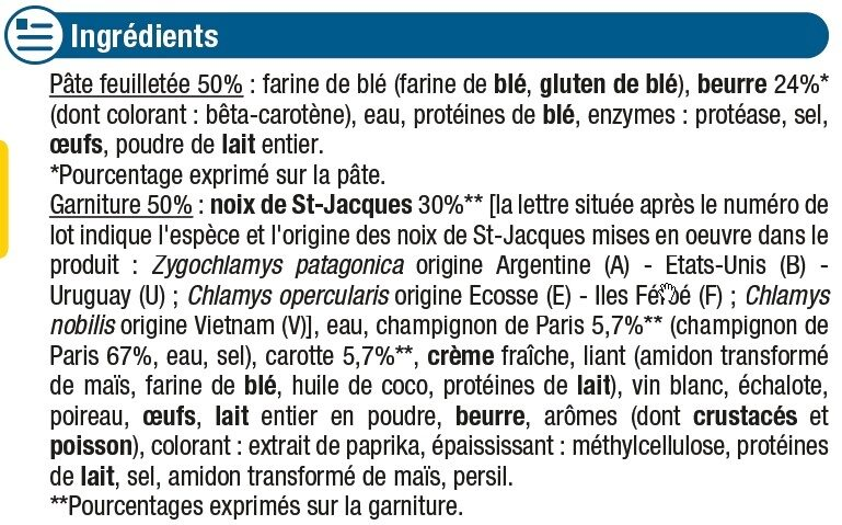 Paniers feuilletés aux noix de St Jacques - Ingrédients - fr