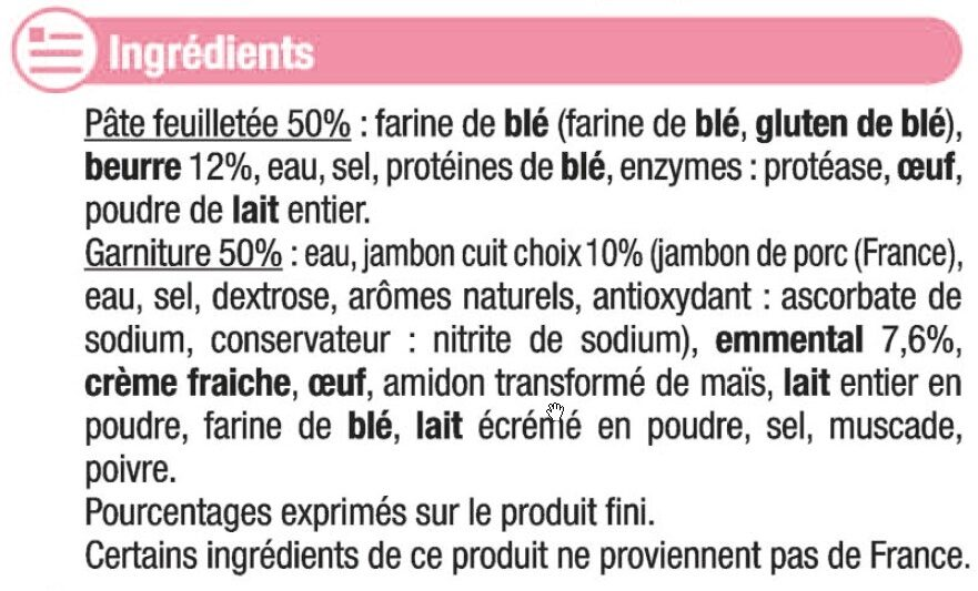 Paniers feuilletés jambon fromage - Ingredients - fr