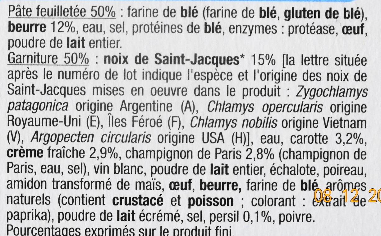 Paniers Feuilletés Noix de St-Jacques*, Surgelés - Ingrediënten