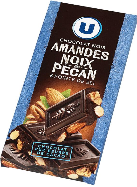 Tablette de chocolat noir amandes entières et noix de pécan caramélisées - Product - fr
