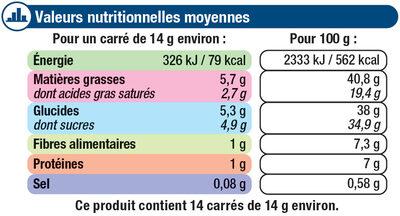 Tablette de chocolat noir amandes entières et noix de pécan caramélisées - Nutrition facts