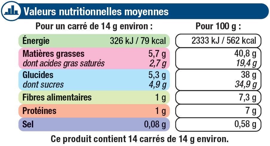 Tablette de chocolat noir amandes entières et noix de pécan caramélisées - Nutrition facts - fr