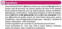 Mini Croques Monsieur pain de mie moëlleux jambon-emmental surgelés - Ingrediënten