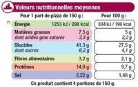 Pizza moelleuse Royale fromage jambon champignons surgelée - Nutrition facts - fr