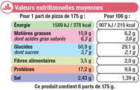 Pizza jambon fromages - Informations nutritionnelles