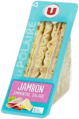 Sandwich au pain spécial garni de jambon cuit choix, d'emmental et desalade - Product