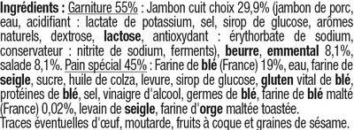 Sandwich au pain spécial garni de jambon cuit choix, d'emmental et desalade - Ingredients