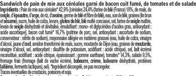 Sandwich au pain de mie aux céréales garni de bacon cuit fumé, de tomates et de salade - Ingrediënten