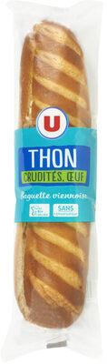 Sandwich pain spécial viennois filet thon émincé oeuf tomate salade - Product - fr
