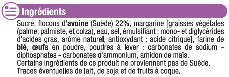 Galettes suédoises aux flocons d'avoine nature - Ingredients - fr
