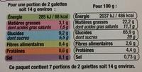 Galettes suédoises aux flocons d'avoine nature - Nutrition facts - en