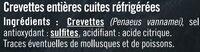 Crevette cuite, calibre 50/70 - Ingredients - fr