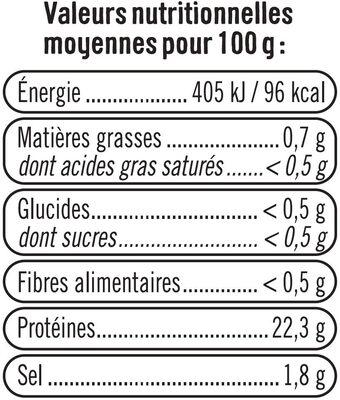 Crevette cuite, calibre 50/70 - Nutrition facts - fr