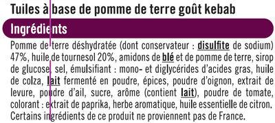 Tuiles goût kebab - Ingrédients - fr