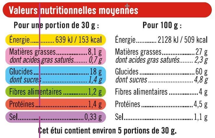 Tuiles goût cheese et burger - Informations nutritionnelles - fr