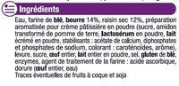 Pains aux raisins pur beurre prêt à cuire - Ingrédients - fr