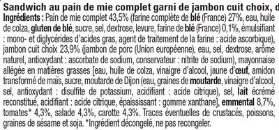 Sandwich maxi jambon emmental et crudités - Ingredients