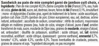 Sandwich maxi jambon emmental et crudités - Ingrédients - fr