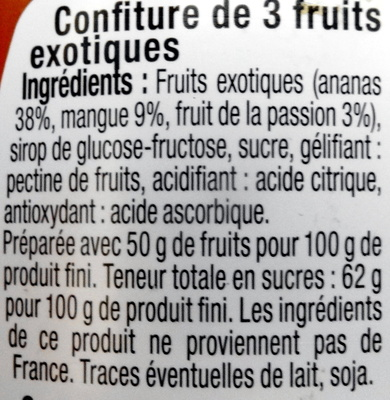 Confiture Fruits Exotiques - Ingredients