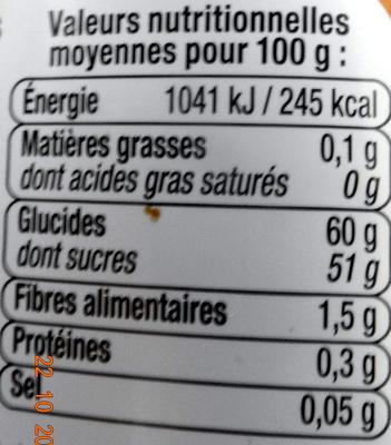 Confiture Fruits Exotiques - Nutrition facts