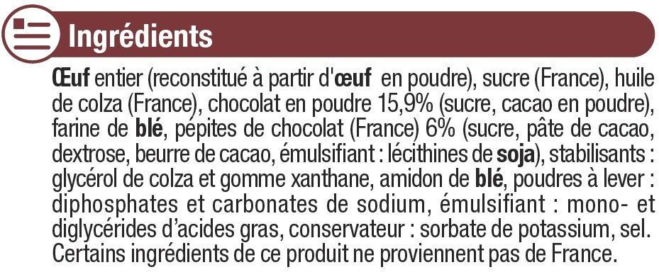 Préparation pour moelleux chocolat prêt à cuire - Ingrediënten - fr