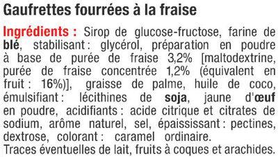 Gaufrettes fourrées saveur fraise - Ingrédients