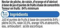 Fraîcheur fruits orange, pêche et abricot riche en fruits - Ingrédients - fr