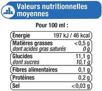 Fraîcheur fruits orange, pêche et abricot riche en fruits - Informations nutritionnelles - fr