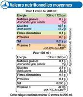Fraîcheur de fruits orange riche en fruits - Nutrition facts