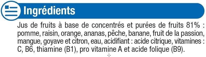 Jus fraîcheur de fruits multifruits riche en fruits - Ingrédients - fr