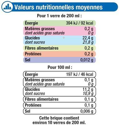 Fraîcheur de fruits pomme riche en fruits - Informations nutritionnelles - fr