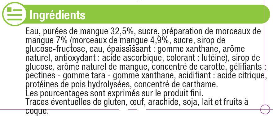 Sorbet à la mangue - Ingredients
