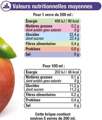 Pur jus de pomme, orange sanguine, cassis pasteurisé réfrigéré - Nutrition facts - fr