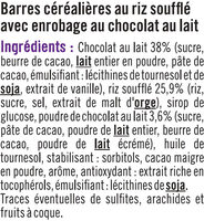 Barres de céréales enrobées de chocolat au riz souflé - Ingrediënten