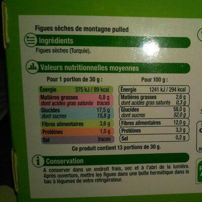 Figue sèche de montagne, calibre n°3 - Informations nutritionnelles - fr