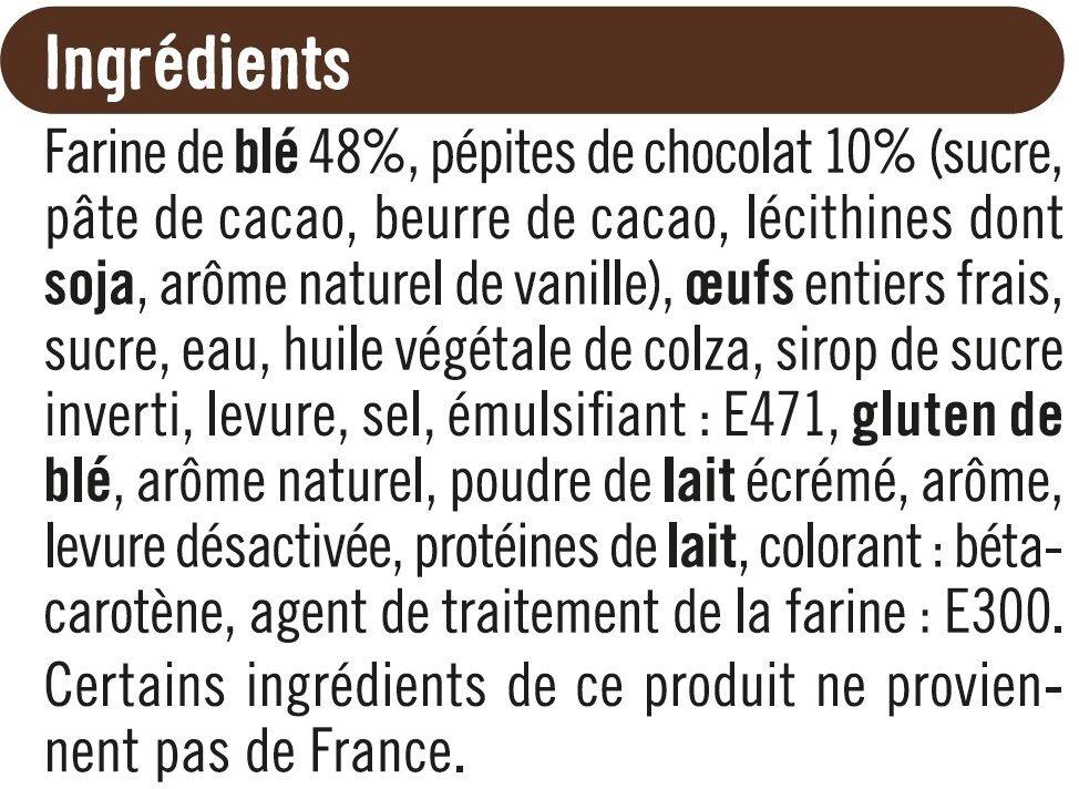 Brioche tranchée aux pépites de chocolat - Ingrédients
